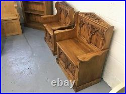 Gothic Old Wood Pine Monks Bench Pew Settle Lift Up Lid For Storage in stock