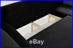 Grey Corner Sofa Bed With Storage. Fabric