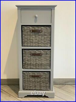 Grey Elegant Storage Unit Drawers Wicker Baskets Office Bedroom Living Room