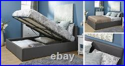 Grey Fabric Ottoman Storage Bed Gas Lift Up with Under Bed Storage All Sizes