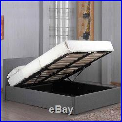 Grey Fabric Upholstered Lift Up Under Storage Ottoman Bed Frame Double King Size