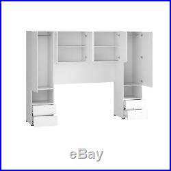 Grey Gloss Over Bed Overbed Storage Unit Bedroom Wardrobe Cabinet Furniture NEW