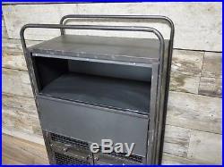 Grey Metal Industrial Cabinet 1 Drawer 2 Door Compartments Retro Storage Unit