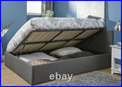 Grey Side Lift Ottoman Storage Bed Quality Fabric Gas Lift 3ft 4ft 4ft6 5ft