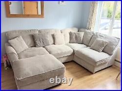 Grey/Silver Corner Sofa Oak Furniture Land Footstool, Cleaning Care Kit & More