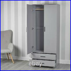 Grey Wardrobe With 2 Doors And 2 Drawers Bedroom Storage Hanging Bar Clothes NEW