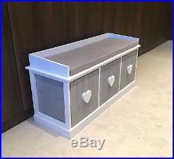 Grey White Vintage Wooden Storage Unit Bench Seat Shabby Chic 3 Drawers  Cushion