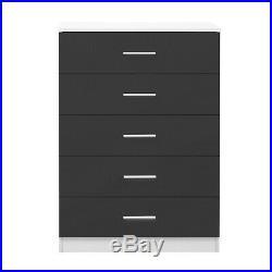 HIGH GLOSS 2 Piece Duo Bedroom Mirrored Wardrobe + Chest Set Grey / White