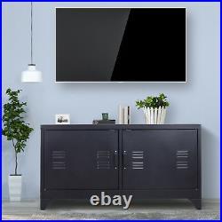 HOMCOM Industrial TV Cabinet Stand Media Center Steel Shelf Doors Storage Black