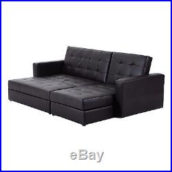 HOMCOM Sofa Bed 3 Seater Foldable Storage Sectional Living Room Furniture Brown