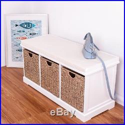 Hallway Shoe Storage Bench 3 Wicker Baskets Cushion Seat White Wooden Furniture