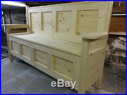 Hand Made, Hallway Seat, Storage Bench, Monks Bench, Settle, Pine Furniture, NEW