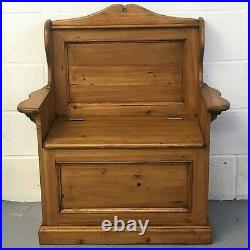 Hand Waxed Old Wood Pine Monks Bench Pew Settle Lift Up Lid For Storage