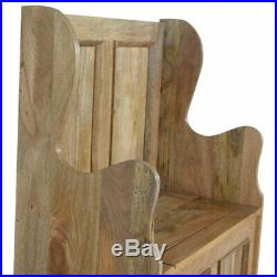 Handcrafted Solid Mango Wood Small Hallway Monks Storage Bench Carved Oak-ish