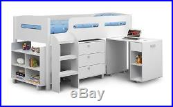 Happy Beds Kimbo Kids Bunk Bed Sleep Station Storage Drawers Mattresses 3ft New