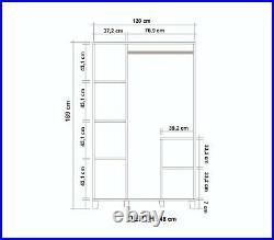 Hedera Wardrobe 120 cm White Shelving Clothes Storage Mirrored 3 Door Bedroom