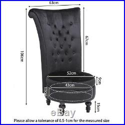 High Back Dressing Stool Velvet Sofa Lounge chair Fireside Chair with Storage