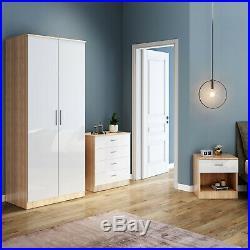 High Gloss 2 Door Wardrobe Mirrored Bedroom Furniture 3 pcs Set Large Storage