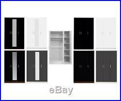 High Gloss 3 Door Soft Close Wardrobe Bedroom Furniture 4 Colours 113cm Wide