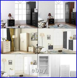 High Gloss 3 Piece Bedroom Furniture Set 2 Door Wardrobe Tallboy Chest Bedside