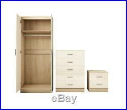 High Gloss 3 Piece Trio Bedroom Furniture Set Wardrobe + Chest + Bedside