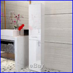 High Gloss Bathroom Cupboard Tall Cabinet Large Tallboy Storage Unit Furniture