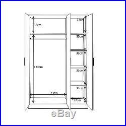High Gloss Black / Black Oak Bedroom Furniture Range 3 Door Wardrobe Soft Close