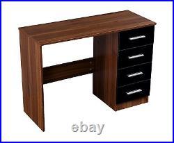 High Gloss Black / Walnut 4 Drawer Reflect Dressing Table / Desk Furniture