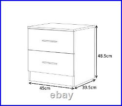 High Gloss Graphite Grey & Matt White 4 Piece Bedroom Set With 2 Bedside Tables