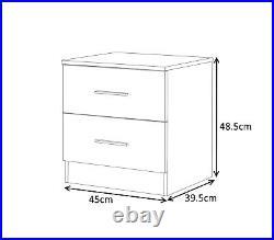 High Gloss Grey & Matt White 3 Piece Set 3 Door Mirrored Wardrobe Chest Bedside