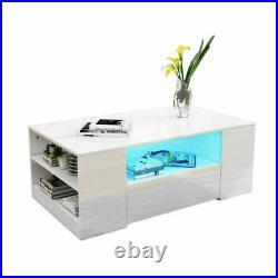 High Gloss LED Coffee Tea Table with 2 Storage Drawers RGB Light Living Room UK