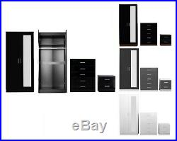 High Gloss Wardrobe Chest Bedside REFLECT Mirrored 3 Pc Bedroom Set Colour Opts
