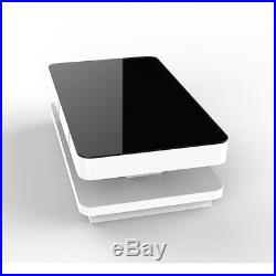 High Gloss White Coffee Table + Black Glossy Glass Top with Drawer Shelf Storage