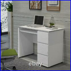 High Gloss White Home Office Desk 3 Storage Drawers Laptop Computer Study Table