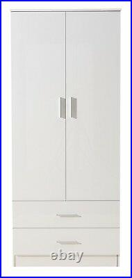 High Gloss White / Matt White Bedroom Furniture REFLECT 2 Door 2 Drawer Wardrobe