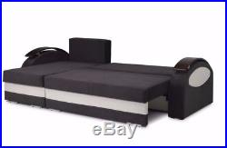 High Quality Corner Sofa Bed with 2 Storage Compartments, Black & White