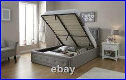 Hollywood Grey Fabric Ottoman Storage Lift Up Bed with Diamantes 3ft 4ft6 5ft