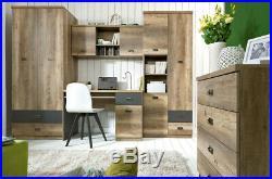Home Office Study Set Desk & Wall Mounted Shelf Unit Oak Grey Storage Malcolm