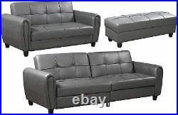 ISRA 3-Seater Luxury Faux Leather Sofa Bed Hidden Storage Comfort Grey Black