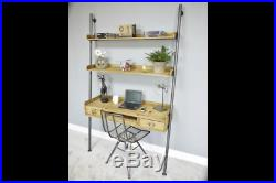 Industrial Desk 2 Drawer 2 Shelves Wooden Storage Computer Display Office Unit