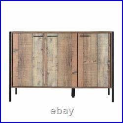 Industrial Loft Reclaimed Style Oak Effect Sideboard Storage Cabinet Cupboard