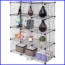 Industrial Metal Wire 12 Storage Cubes DYI Shelving Unit Bookcase PlayPen Black
