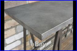 Industrial Reclaimed Grey Metal Console Side Hall Table & Basket Storage Dx5289