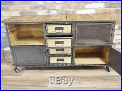 Industrial Retro Vintage Reclaimed Metal Wood Sideboard Cabinet Storage (d4488)