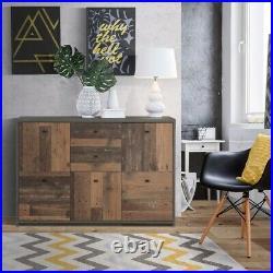 Industrial Style Storage Cabinet 5 Door 2 Drawer Brown & Grey Sideboard Chest