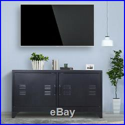 Industrial Style TV Stand Metal Sideboard Unit Storage Cabinet With 4 Cable Hole