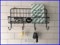 Industrial Wire Shelf Wall Unit Hooks Letter Rack Black Key Hooks Storage