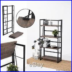 Industrial Wood Metal Bookcase 4 Shelves Storage Display Unit Home Organize NEW