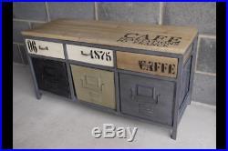Industrial vintage style Cabinet wood steel storage unit sideboard loft urban
