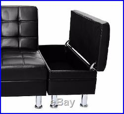 Italian Style Faux Leather Sofa Bed with Storage & Cup ...
